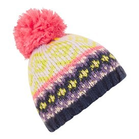 Naz Fair Isle Knit Bobble Hat Porridge