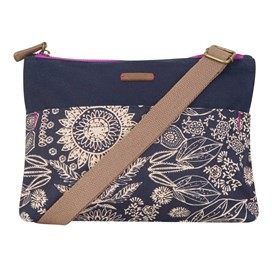Elmi Printed Waxed Cross Body Bag Dark Navy