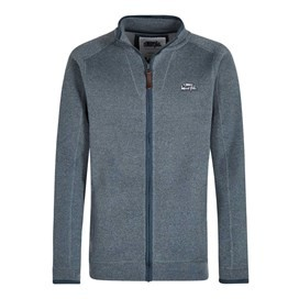 Ashed Full Zip Soft Knit Top Petrol Blue