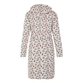 Fishmas Gown Sherpa Lined Printed Dressing Gown Grey Marl