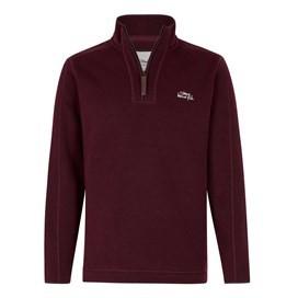 Talas Plain 1/4 Zip Soft Knit Fleece Top Dark Wine