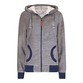 Winona Striped Velour Fleece Dark Navy