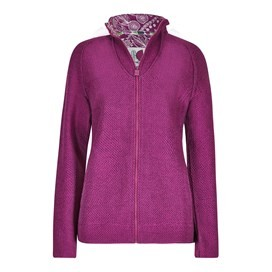 Damla Print Trim Full Zip Classic Macaroni Jacket Sloeberry