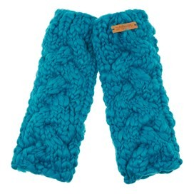 Azra Cable Knit Wristwarmers Blue Jay