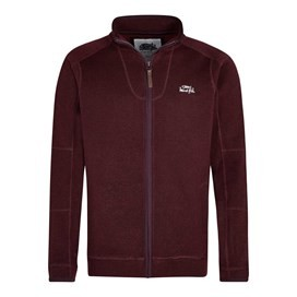Ashed Full Zip Soft Knit Top Dark Wine