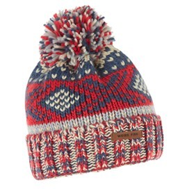 Columbus Fair Isle Knit Bobble Hat Dark Red