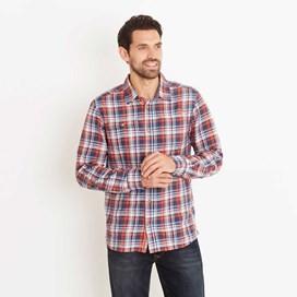 Bernheim Twill Check Long Sleeve Shirt Ensign Blue