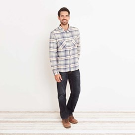 Speakeasy Brushed Cotton Long Sleeve Check Shirt Cloud Cream