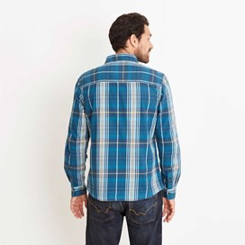 Speakeasy Brushed Cotton Long Sleeve Check Shirt Deep Sea Blue