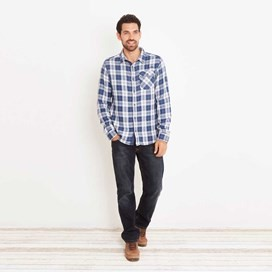 Sazerac Double Faced Long Sleeve Check Shirt Ensign Blue