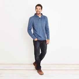Raleigh Button Neck Soft Knit Fleece Top Ensign Blue