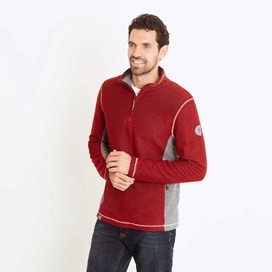 Vaileo 1/4 Zip Fleece Lined Macaroni Sweatshirt Dark Red