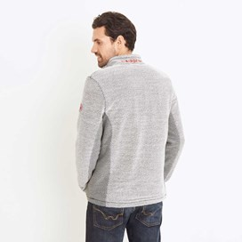 Vaileo 1/4 Zip Fleece Lined Macaroni Sweatshirt Soft Grey