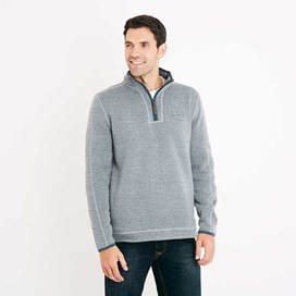 Talas Plain 1/4 Zip Soft Knit Fleece Top Petrol Blue