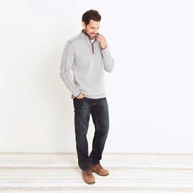 Talas Plain 1/4 Zip Soft Knit Fleece Sweatshirt Frost Grey