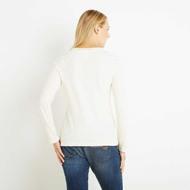 Aysun Long Sleeve Jersey Outfitter T-Shirt Light Cream