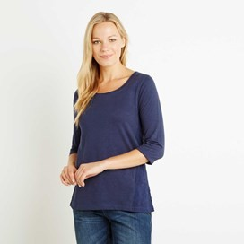 Saffron 3/4 Sleeve Embroidered T-Shirt Dark Navy