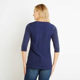 Saffron 3/4 Sleeve Embroidered T-Shirt Dark Navy