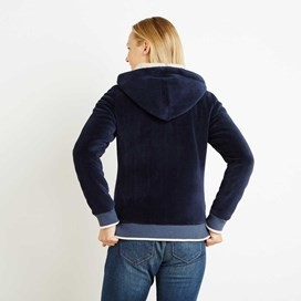 Ottoman Velour Full Zip Hoodie Dark Navy