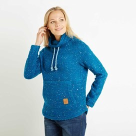 Roskilde Funnel Neck Knitted Fleece Top Blue Jay