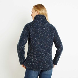 Roskilde Funnel Neck Knitted Fleece Top Dark Navy