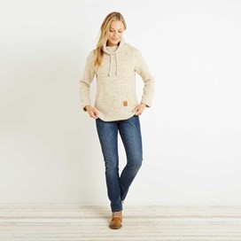 Roskilde Funnel Neck Knitted Fleece Top Porridge
