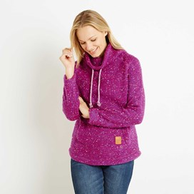 Roskilde Funnel Neck Knitted Fleece Top Sloeberry