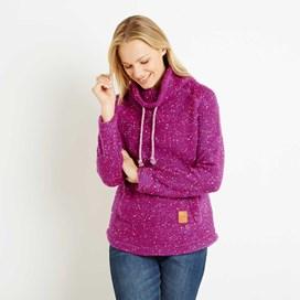 Roskilde Funnel Neck Knitted Fleece Top Sloeberry