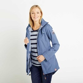 Avesta Print Lined Fully Waterproof Hooded Jacket Bluebird
