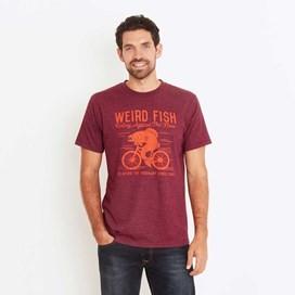 Fish Cycle Graphic Print T-Shirt Dark Wine Marl