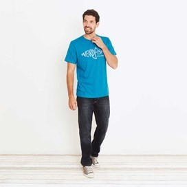 Fiddle Cornelli Stitch T-Shirt Blue Jay Marl