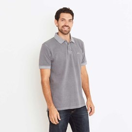 Edwin Garment Dyed Polo Shirt Grey Blue