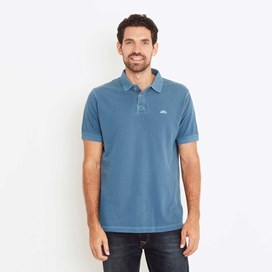 Edwin Garment Dyed Polo Shirt Deep Sea Blue
