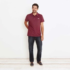 Andy Embroidered Logo Jersey Polo Shirt Dark Wine Marl