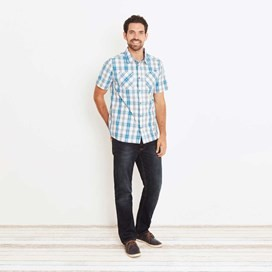 Bardstown Lightweight Short Sleeve Check Shirt Blue Jay