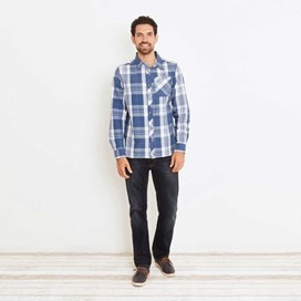 Ezra Lightweight Long Sleeve Check Shirt Ensign Blue