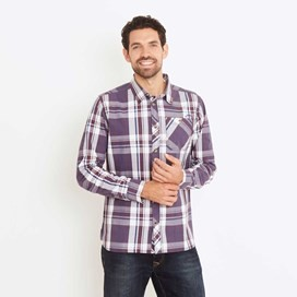 Ezra Lightweight Long Sleeve Check Shirt Nightshade