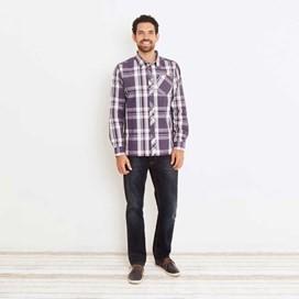 Ezra Lightweight Long Sleeve Check Shirt Nightshade