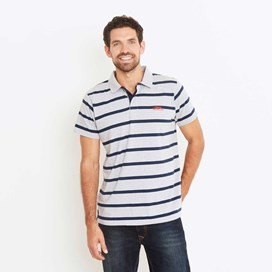 Kinsey Striped Polo Shirt Grey Marl