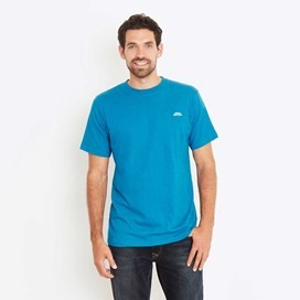 Bones Embroidered Logo Classic Plain T-Shirt Blue Jay Marl