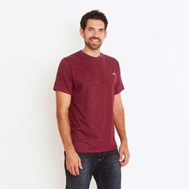 Bones Embroidered Logo Classic Plain T-Shirt Dark Wine Marl