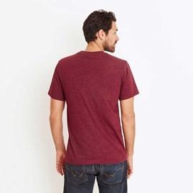 Bones Embroidered Logo Classic Plain T-Shirt Dark Wine Marl