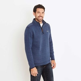 Talas Plain 1/4 Zip Soft Knit Fleece Top Ensign Blue