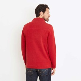 Talas Plain 1/4 Zip Soft Knit Fleece Top Dark Red