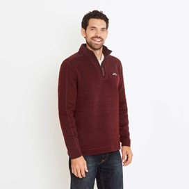 Talas Plain 1/4 Zip Soft Knit Fleece Top Dark Wine