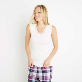 Jemima Pointelle Sleep Vest Light Cream