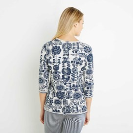 Gabby Double Faced Jersey Pyjama Top Dark Navy