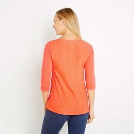 Saffron 3/4 Sleeve Embroidered T-Shirt Clementine