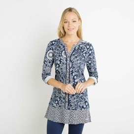 Francisco Printed Longer Length Top Dark Navy