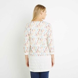 Talulla Raised Pique Stripe Printed Long Sleeve Tunic Light Cream